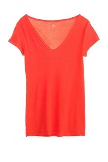Petit Bateau T-shirt femme col V en coton léger 32804 82 Orange 09e9d69e1648