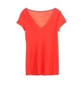 Petit Bateau T-shirt femme col V en coton léger 32804 82 Orange