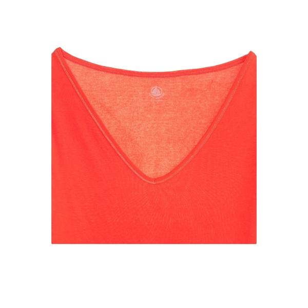 ... Petit Bateau T-shirt femme col V en coton léger 32804 82 Orange ... d96822df25fc