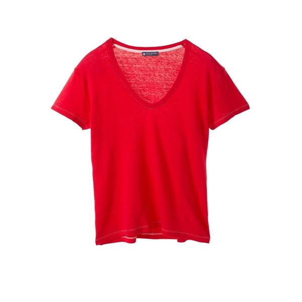 8afe669af5f Petit Bateau T-shirt femme manches courtes col V en lin 32931 23 Rouge ...