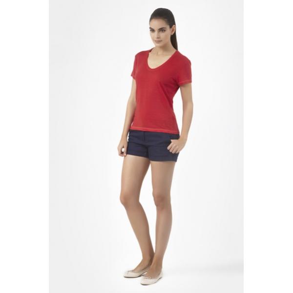 ... Petit Bateau T-shirt femme manches courtes col V en lin 32931 23 Rouge  ... c4d410ba90f3