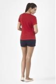 Petit Bateau T-shirt femme manches courtes col V en lin 32931 23 Rouge