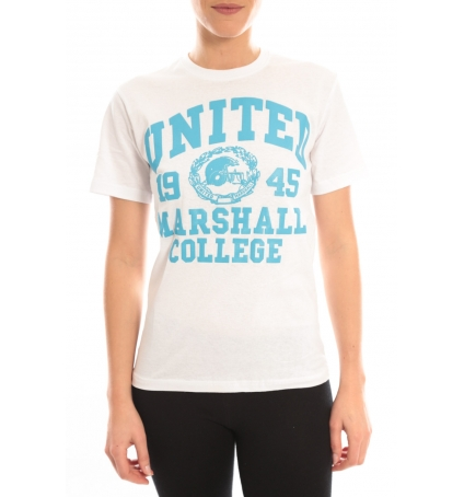 Sweet Company T-shirt United Marshall College Tissu Blanc & Écriture Bleu
