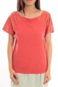 Blune T-Shirt Pointilleuse PO-TF02E13 Rouge