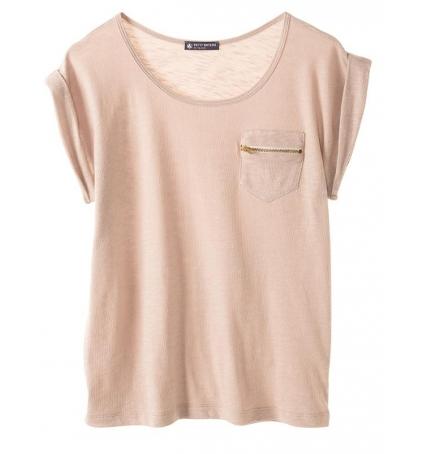 PETIT BATEAU T-shirt femme col rond en jersey flammé 32990 09 Beige