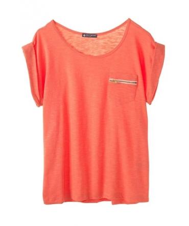 PETIT BATEAU T-shirt femme col rond en jersey flammé 32990 20 Orange