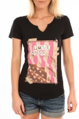 LULU CASTAGNETTE T-Shirt Mimi Flamme Print Noir