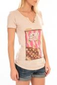 LULU CASTAGNETTE T-Shirt Mimi Flamme Print Beige