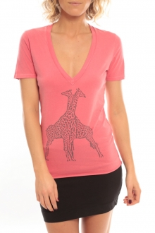 So Charlotte V neck short sleeves Giraffe T00-91-80 Rose