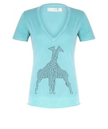 So Charlotte V neck short sleeves Giraffe T00-91-80 Vert