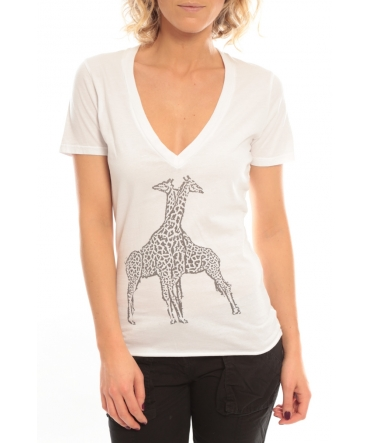 So Charlotte V neck short sleeves Giraffe T00-91-80 Blanc