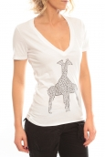 So Charlotte V neck short sleeves Giraffe T00-91-80 Blanc