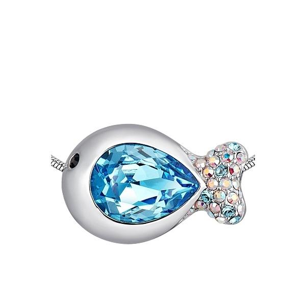 collier poisson en cristal de swarovski elements bleu. Black Bedroom Furniture Sets. Home Design Ideas