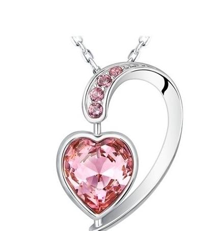 Pendentif Coeur en Cristal de Swarovski Elements Rose