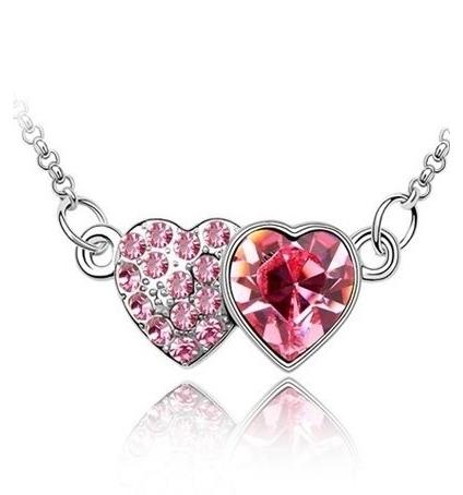 Collier Coeur à Coeur en Cristal de Swarovski Element Rose