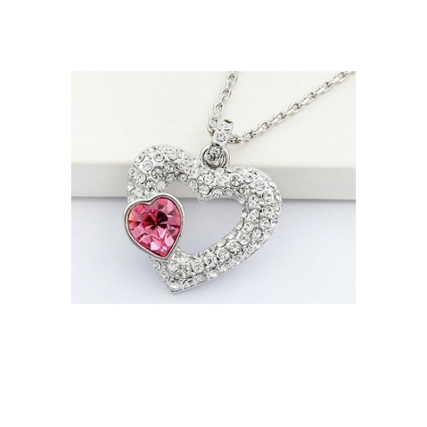 collier coeur de cristal de swarovski elements rose