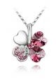 Pendentif Trèfle Cristal de Swarovski Element Rose