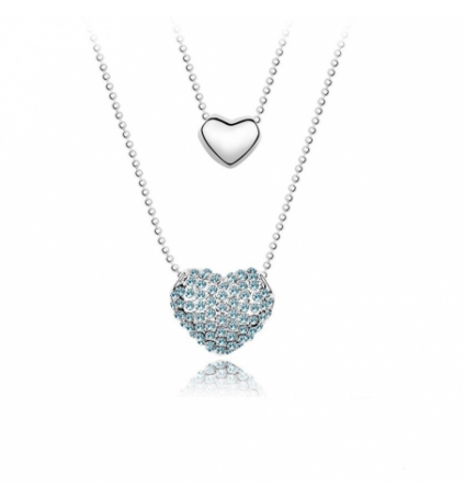 Double Pendentif Coeur Bleu Cristal Swarovski Elements
