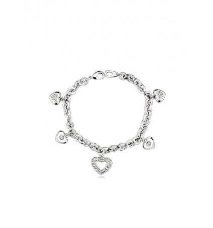 Bracelet Coeurs Blanc en Cristal Swarovski Elements