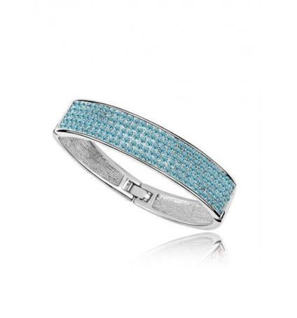 Bracelet Bangle et Cristal de Swarovski Elements Bleu