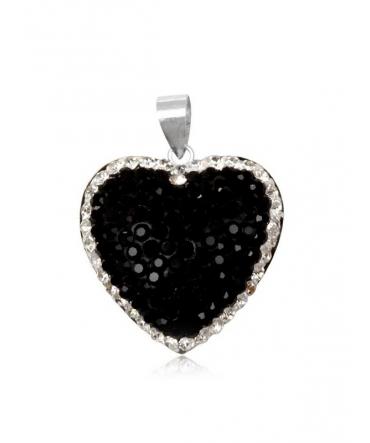 Pendentif Coeur Cristal Presiosa Noir