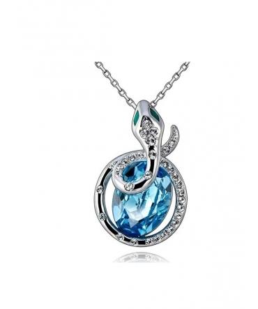 Pendentif Serpent en Cristal de Swarovski Element Bleu