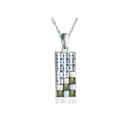 Pendentif Design en Cristal de Swarovski Elements Blanc et Noir