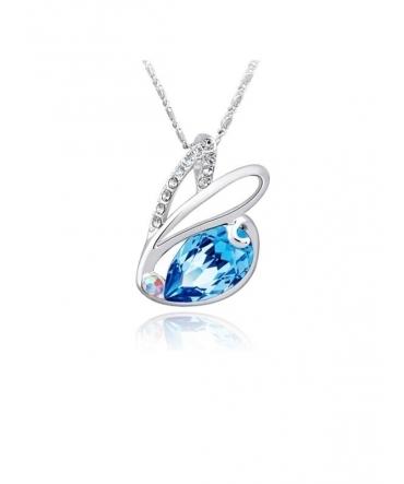 Pendentif Lapin Swarovski Element Crystal bleu