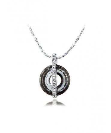 Pendentif Cercle Cristal de Swarovski Gris Antracite