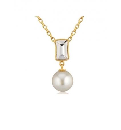 Pendentif Perle et Cristal de Swarovski Elements Blanc