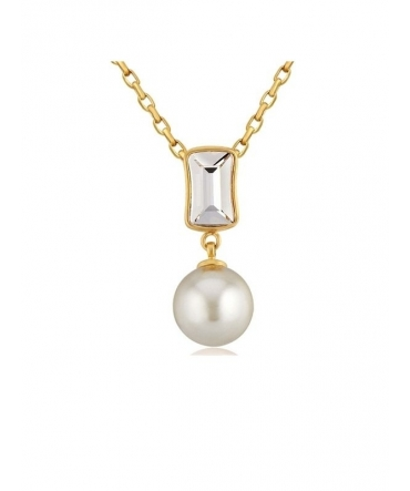 Pendentif Perle et Cristal de Swarovski Blanc