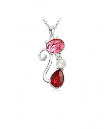 Pendentif Chat Perle et Cristal de Swarovski Rouge