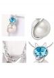 Pendentif Chat Perle et Cristal Bleu