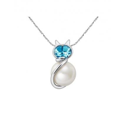 Pendentif Chat Perle et Cristal Bleu de Swarovski Elements