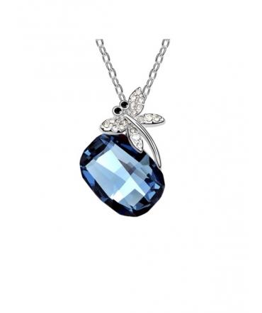 Pendentif Libellule et Cristal de Swarovski Bleu