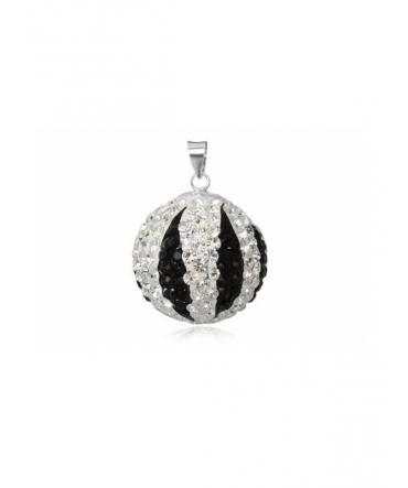 Pendentif Boule de Cristal noir et blanc