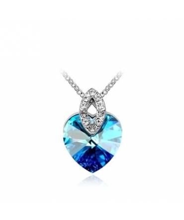 Pendentif Coeur Cristal de Swarovski Bleu
