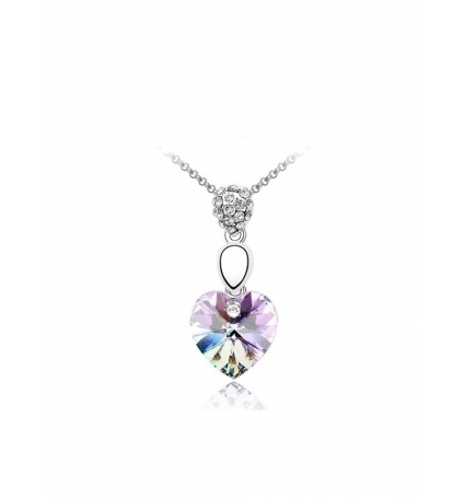 Pendentif Coeur Cristal de Swarovski Elements violet