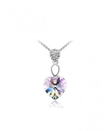 Pendentif Coeur Cristal de Swarovski Element violet