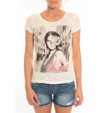 Vero Moda T-Shirt Rome Vlatka S/S EX5 Snow White/W.Pink