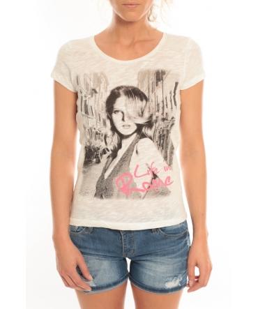 Vero Moda T-Shirt Rome Vlatka S/S EX5 Snow White/W.Pink Blanc/Rose