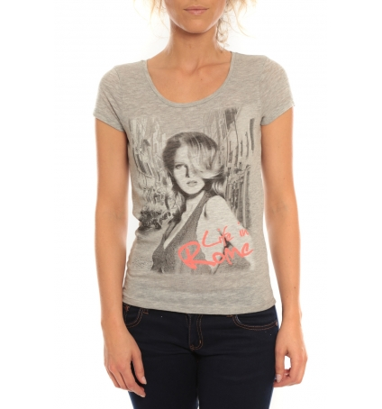 Vero Moda T-Shirt Rome Vlatka S/S EX5 Light Grey Mela/W Fiery