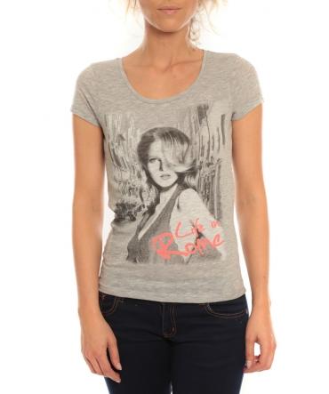 Vero Moda T-Shirt Rome Vlatka S/S EX5 Light Grey Mela/W Fiery Gris/ orange