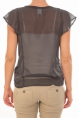 Vero Moda Chemisier AGNES S/S Shirt Mix Asphalt Gris