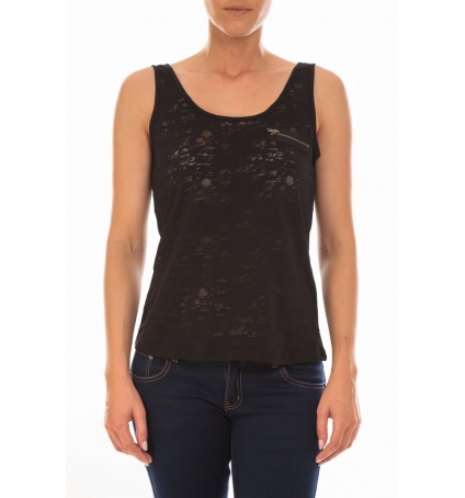 Vero Moda TOP ALMA SL TANK Black/DTM ZIPPER