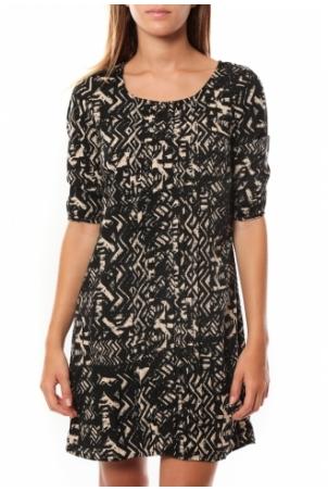 Vero Moda DRESS LEAH 3/4 SHORT EX7 Black/LATTE
