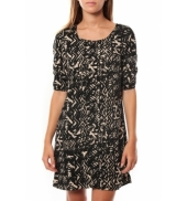 Vero Moda DRESS LEAH 3/4 SHORT EX7 Black/LATTE