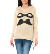 De Fil en Aiguille Pull Moustache C320 Écru - 1 acheté = 1 offert