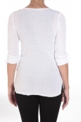 Sweet Company Tee-shirt Basique Col Tunisien Blanc - 1 acheté = 1 offert