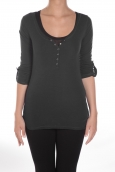 Sweet Company Tee-shirt Basique Col Tunisien Noir